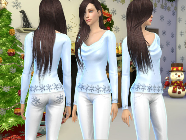 The Sims Resource: Christmas Snowflake Trousers by Forsaken006