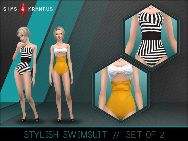 The Sims Resource: Stylish Swimsuit Set of 2 by Sims4Krampus