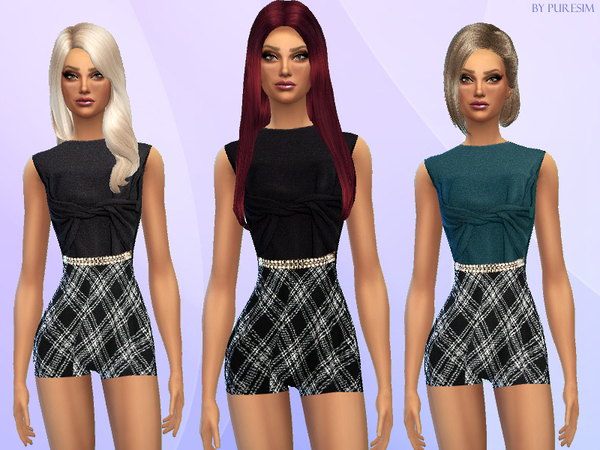The Sims Resource: Twisted & Plaided Bodysuit by PureSim