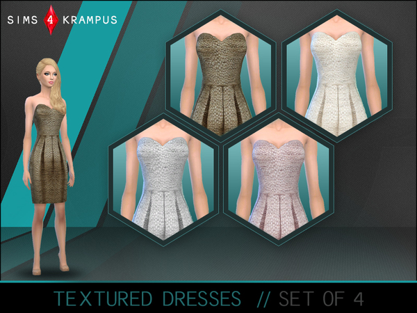 The Sims Resource: Textured Strapless Dresses by SIms4Krampus