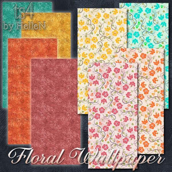 Sims Creativ: Floral wallpaper by HelleN