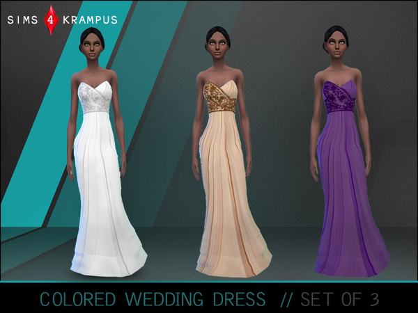 The Sims Resource: Colored Wedding Dresses by SIms4Krampus