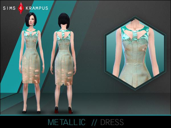 The Sims Resource: Metallic Cutout Dress by SIms4 Krampus