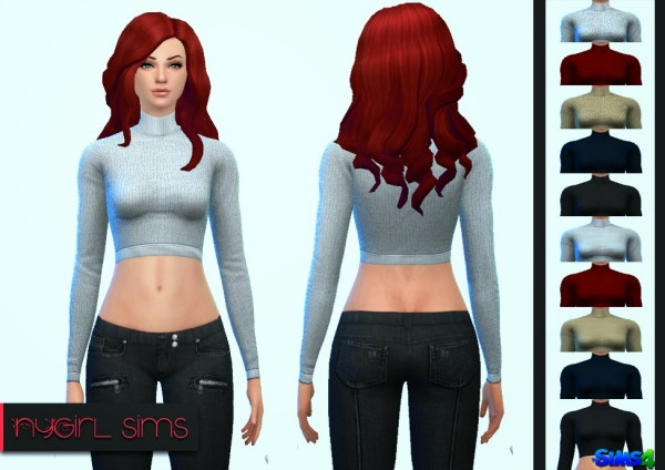 NY Girl Sims: Turtleneck Crop Sweater