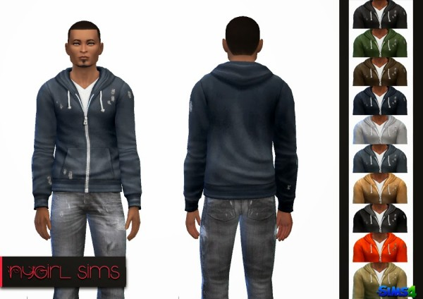 NY Girl Sims: Faded Zip Up Hoodie