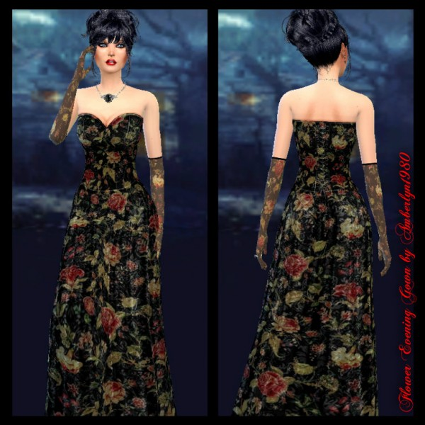 Amberlyn Designs Sims  Flower Evening Gown with gloves. dress Archives   Page 758 of 884   Sims 4 Downloads