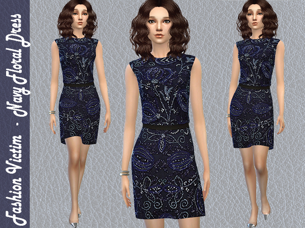 The Sims Resource: Navy Floral Dress by Fashion Victim