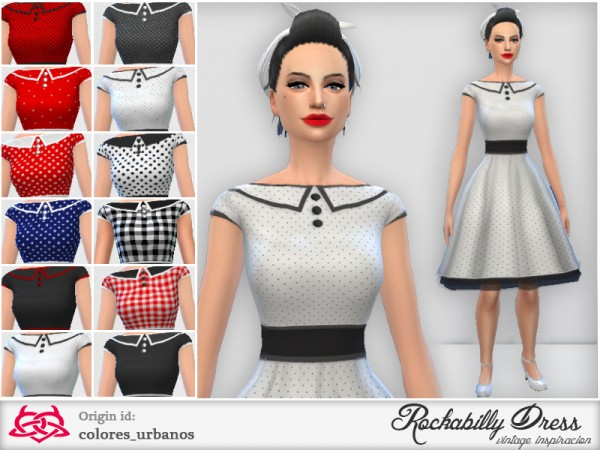 The Sims Resource  Rockabilly Dress v3 by Colores Urbanos. The Sims Resource  Rockabilly Dress v3 by Colores Urbanos   Sims 4
