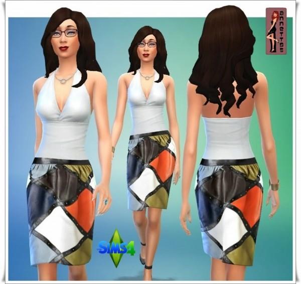 Annett`s Sims 4 Welt: Patchwork Leather Skirt