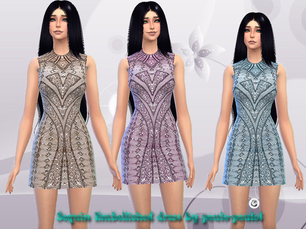 The Sims Resource: Sequin Embellished dress by paulo paulol