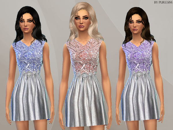The Sims Resource: Embellished Pastel Dress by PureSim