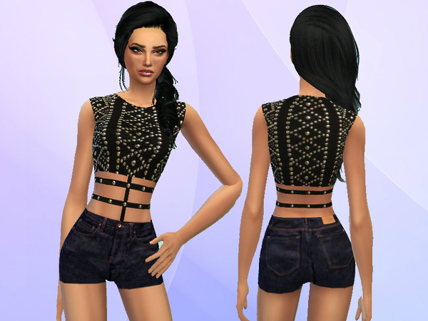 The Sims Resource: Studded Outfit by PureSim