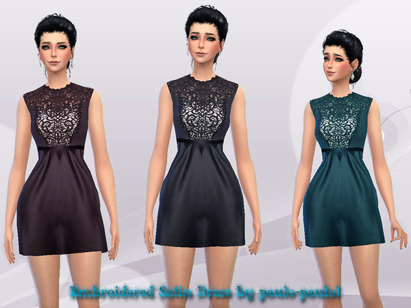 The Sims Resource: Embroidered Satin Dress by paulo paulol