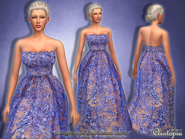 The Sims Resource: Set22  Designer Floral Embellished Gown by Cleotopia