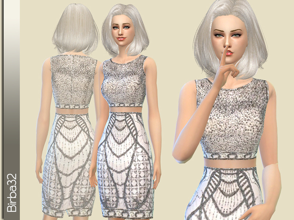 The Sims Resource: Shining silver dress by Birba32
