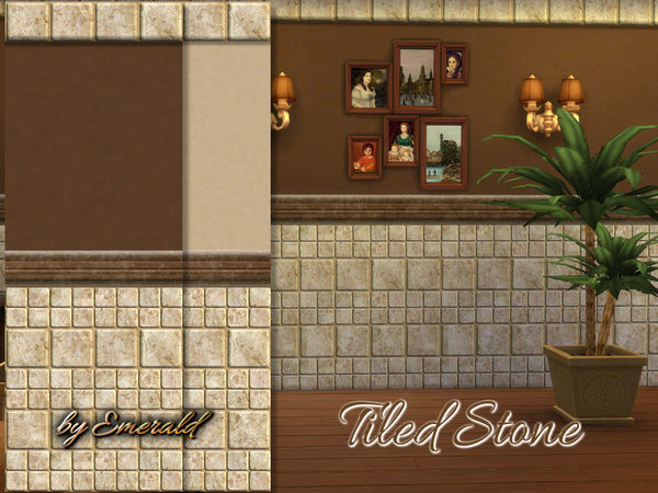 The Sims Resource Tiled Stone Wall By Emerald Sims 4