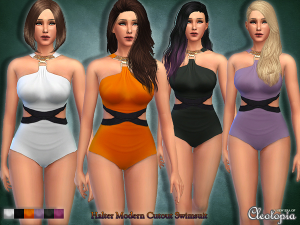 The Sims Resource: Halter Modern Cutout Swimsuit by Cleotopia