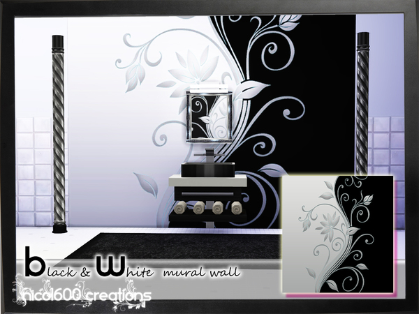 The Sims Resource: Black & White mural wall by Nicol600