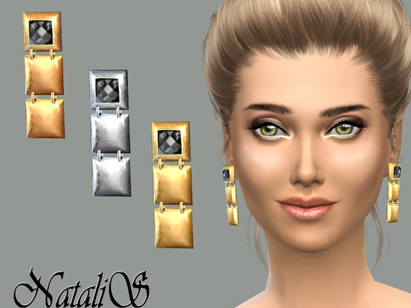 The Sims Resource: Squares Drop Earrings by NataliS