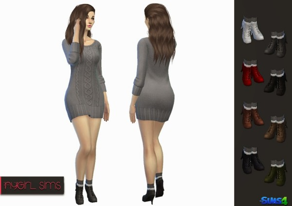 NY Girl Sims: High Heel Boot with Lace Trim Knitted Sock