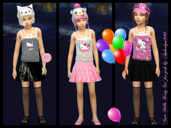 Amberlyn Designs Sims: Cute Hello Kitty Set
