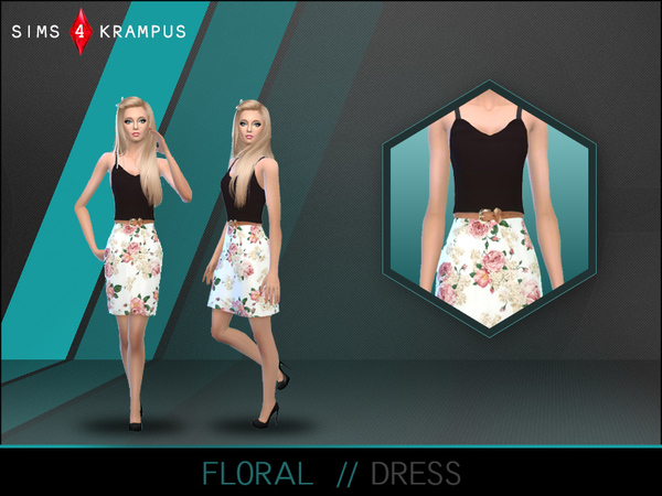 The Sims Resource: Floral Dress by SIms 4 Krampus