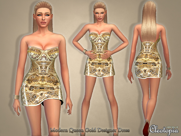 The Sims Resource: Set23  Modern Queen Gold Designer Dress by Cleotopia