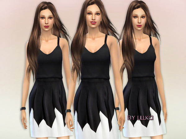 The Sims Resource: Black & White dress by lillka