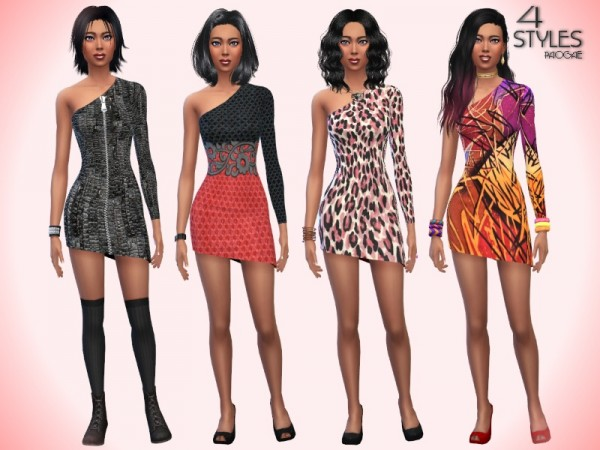 The Sims Resource: 4 Styles dresses by Paogae
