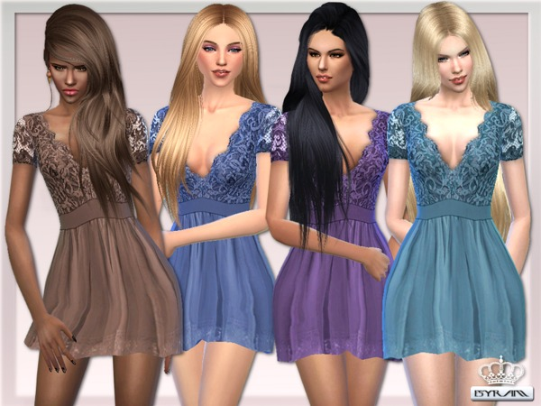 The Sims Resource: Scalloped Lace Prom Dress by EsyraM