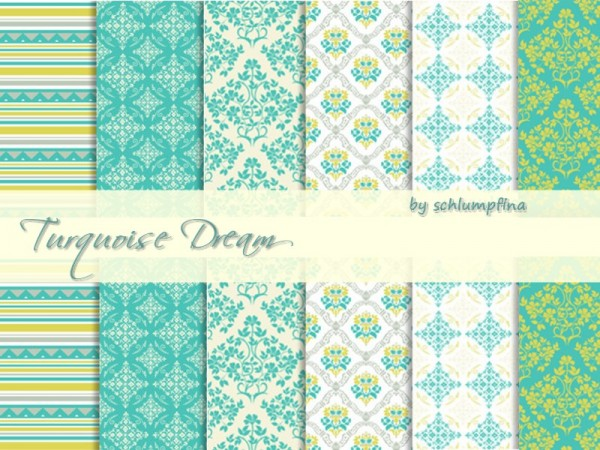 The Sims Resource: Turquoise Dream Wallpaper by Schlumpfina90