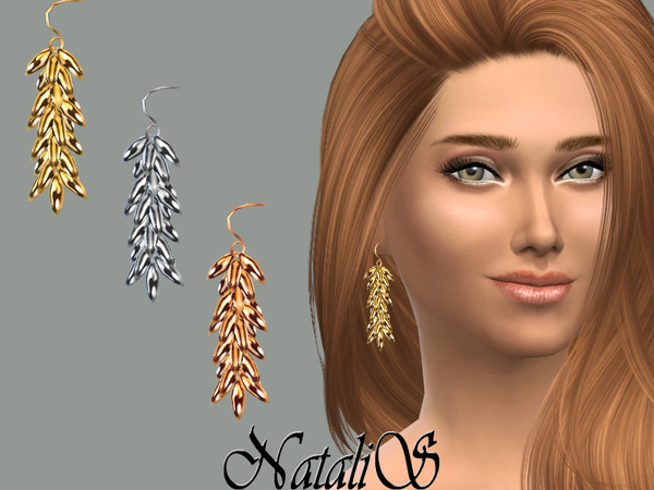The Sims Resource: Cascades linear drop earrings by NataliS
