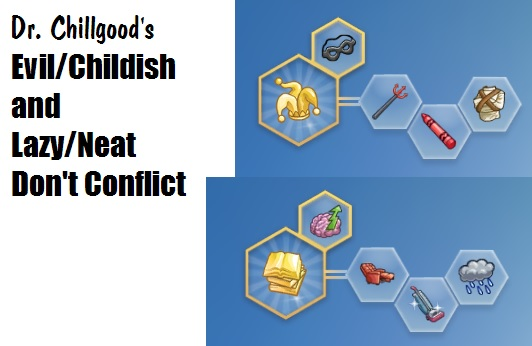 Mod The Sims: Evil/Childish and Lazy/Neat Dont Conflict by DrChillgood