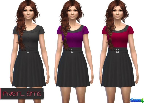 NY Girl Sims: Double Belted Button Dress