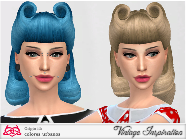 The Sims Resource: Victory Rolls 01 hair by Colores Urbanos
