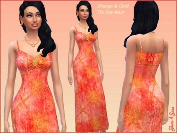 Shara 4 Sims: Orange Tie Dye Maxi Dress