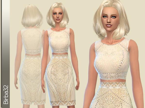 The Sims Resource: Cream Dress by Birba32