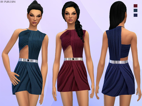 The Sims Resource: Draped Cutout Dress bu PureSim