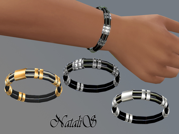 The Sims Resource: Rubber and metal bracelet by NataliS