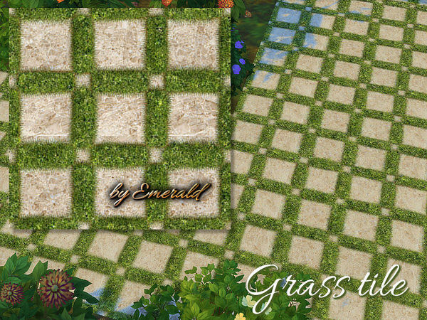 The Sims Resource: Grass Stone tiles by Emerald
