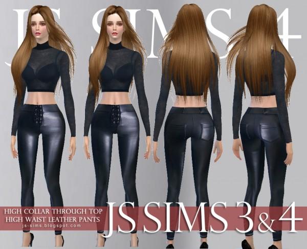 JS Sims 4: High Collar Through Top & High Waist Leather Pants