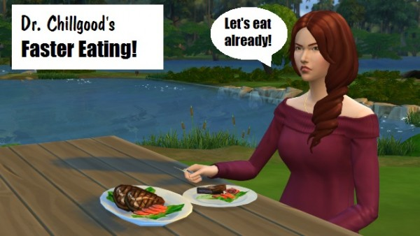 Mod The Sims: Faster Eating (and drinking) by DrChillgood