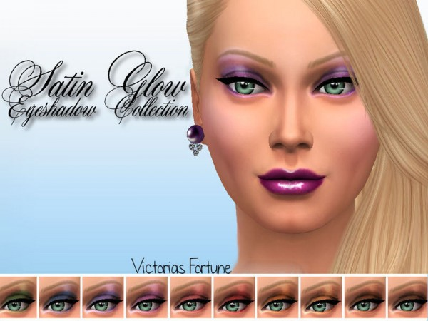 The Sims Resource: Satin Glow Eyeshadow Collection by Fortunecookie1