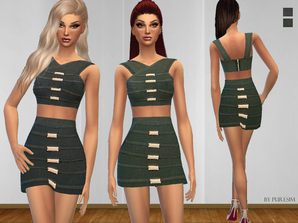 The Sims Resource: Two Piece Bandage Dress by Puresim