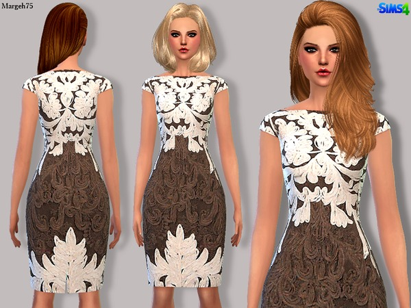 The Sims Resource: Sims 4 Praline & Cream Dress by Margeh 75