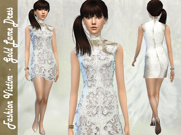 The Sims Resource: Gold Lame Dress by Fashion Victim