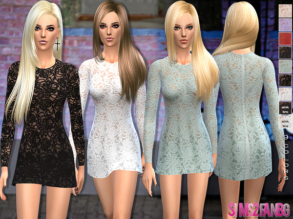 The Sims Resource: 33   Cocktail lace dress by Sims2fanbg