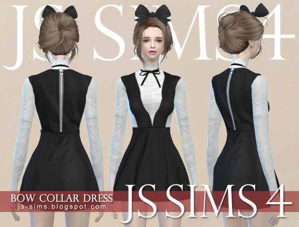 Js Sims 4 Bow Collar Dress Sims 4 Downloads