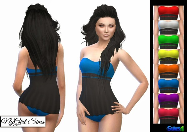 NY Girl Sims: Strapless Skirted Swimsuit