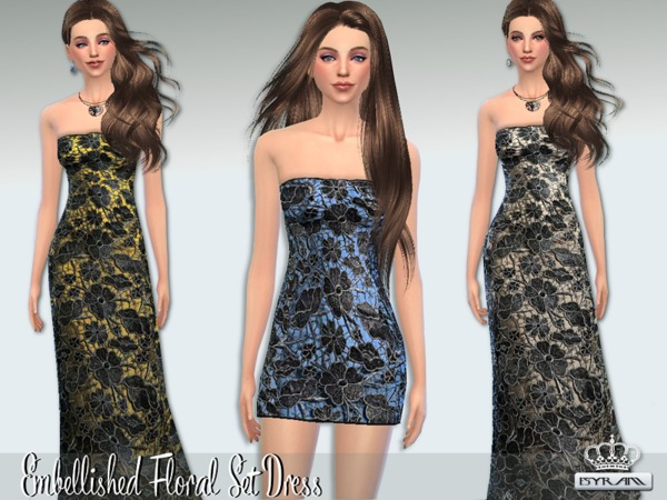 The Sims Resource: Embellished Floral Dress by EsyraM